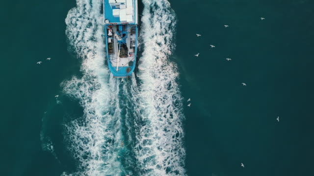 vídeos de stock e filmes b-roll de fishing boat aerial view in the middle of the sea - pescador