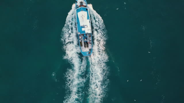 fishing boat aerial view in the middle of the sea - fishing boat stock videos & royalty-free footage