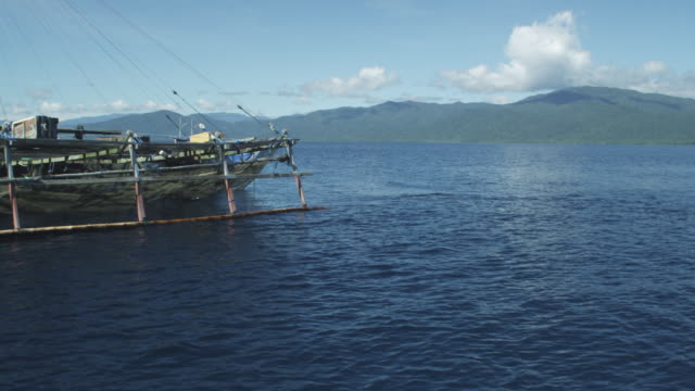 ws fishing boat and  fin of whale shark next to it, indonesia, 2012 - fin whale stock videos & royalty-free footage