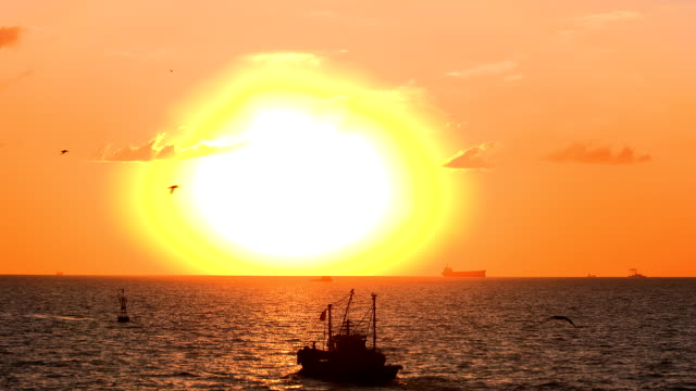 fishing boat and the sun - fishing boat stock videos & royalty-free footage