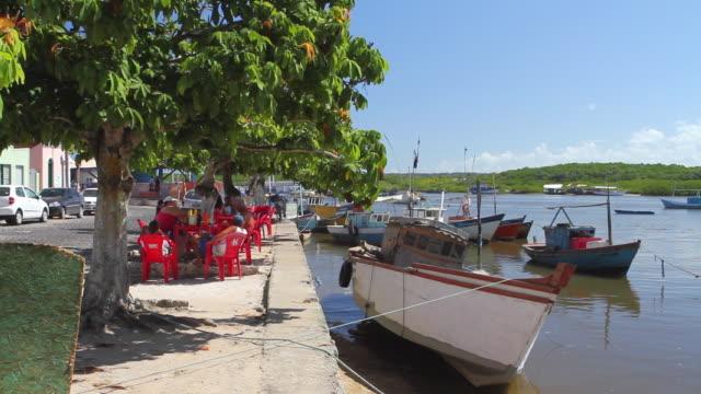 ws fishing boat at harbour / porto seguro, bahia, brazil - porto seguro stock videos & royalty-free footage