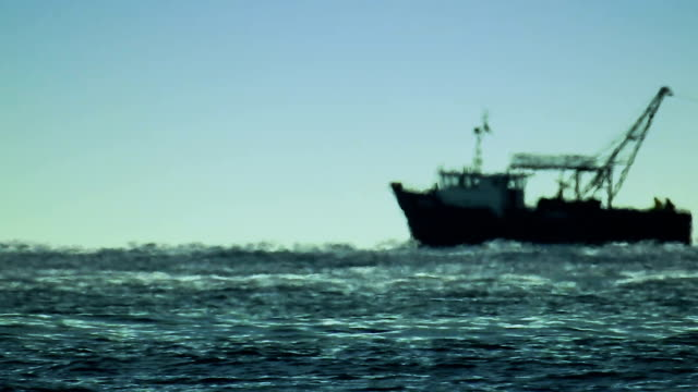 fishing boat at sea, telephoto lens zoom - telephoto lens stock videos and b-roll footage