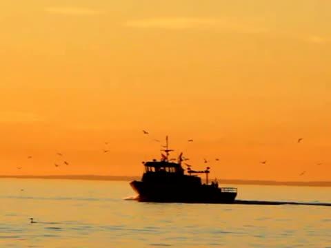 Fischerboot im Sonnenuntergang-NSTC
