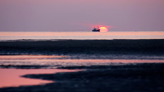 fishing boat at sunset - north sea stock videos & royalty-free footage