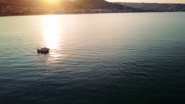 vídeos de stock, filmes e b-roll de barco de pesca voltando-se para o porto - peixe de água salgada