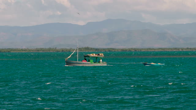 fishing boat in caribbean sea, cuba - sancti spiritus province stock videos and b-roll footage