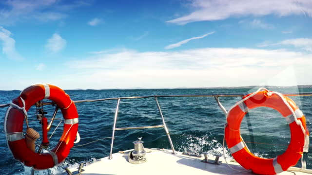 Fishing boat in rough sea POV