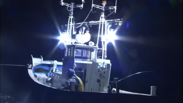 fishing boat on sea of japan at night, japan - fischerboot stock-videos und b-roll-filmmaterial