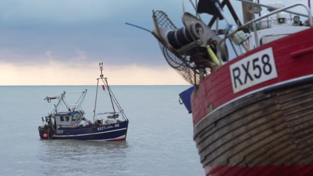 fishing boat prepares to go out to sea in hastings u.k. on friday, january. 15, 2021. while prime minister boris johnson claimed last month's trade... - nautical vessel stock videos & royalty-free footage