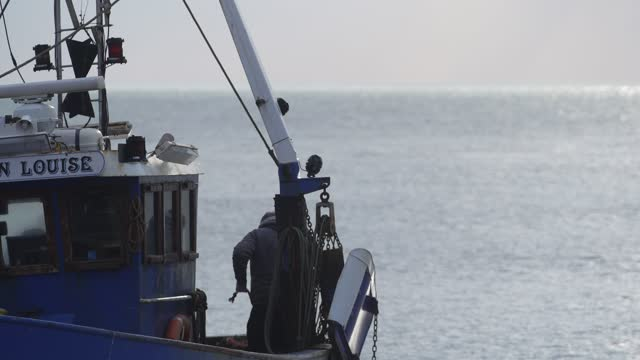 fishing boat prepares to go out to sea in hastings u.k. on friday, january. 15, 2021. while prime minister boris johnson claimed last month's trade... - fishing industry stock videos & royalty-free footage