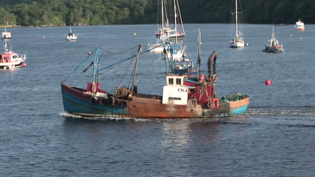 stockvideo's en b-roll-footage met fishing boat. tobermory. mull. uk. 22/07/08 - mull