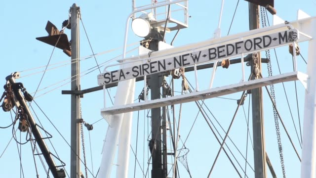 fishing boat with sign seasirennewbedfordma fishing trawlers - new bedford stock videos & royalty-free footage