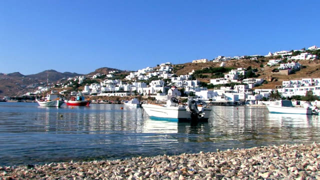 fishing boats anchorage - mykonos stock videos & royalty-free footage