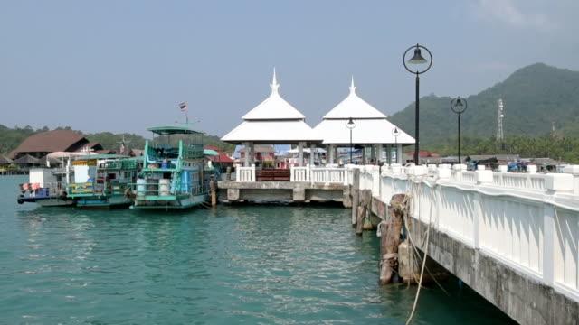 fishing boats and gazebo at bang bao pier - gazebo stock videos & royalty-free footage