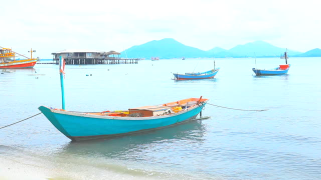 Fishing boats and village.