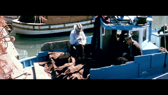 1955 fishing boats at fisherman's wharf in san francisco - fisherman's wharf san francisco stock videos & royalty-free footage