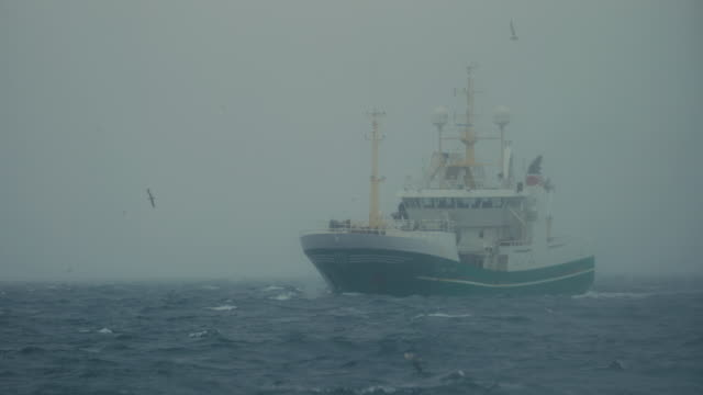 fishing boats at work in the north sea - fishing stock videos & royalty-free footage