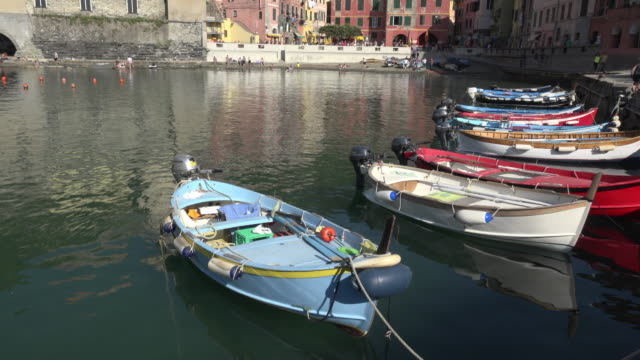 TU / Fishing boats in port of village Vernazza
