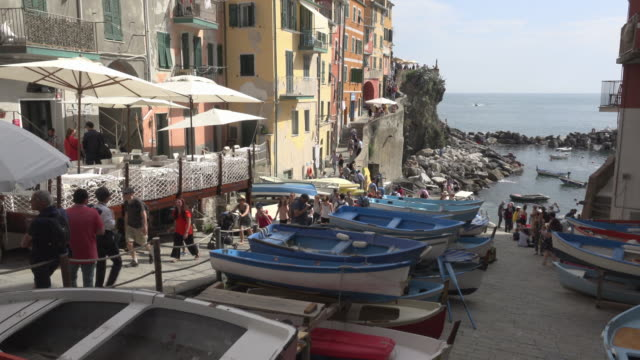 TD / Fishing boats in street of village Riomaggiore