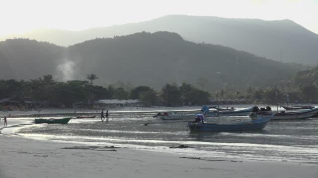 fishing boats in thong nai pan bay at sunset - gulf of thailand stock videos & royalty-free footage