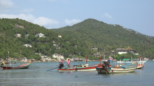 fishing boats in thong nai pan bay - gulf of thailand stock videos & royalty-free footage