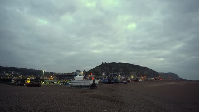 fishing boats line up on the beach in hastings u.k. on friday, january. 15, 2021. while prime minister boris johnson claimed last month's trade deal... - fishing industry stock videos & royalty-free footage