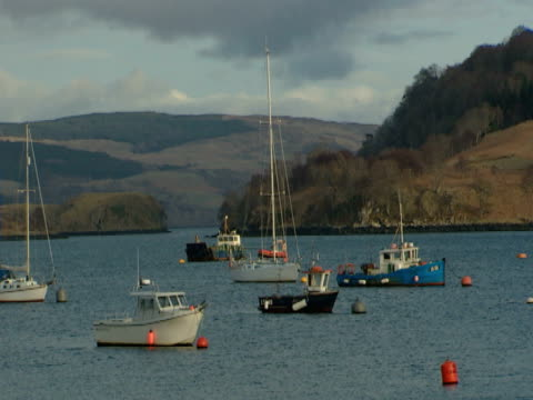 vidéos et rushes de fishing boats on calm sea, land in background, industry, picture postcard - mull