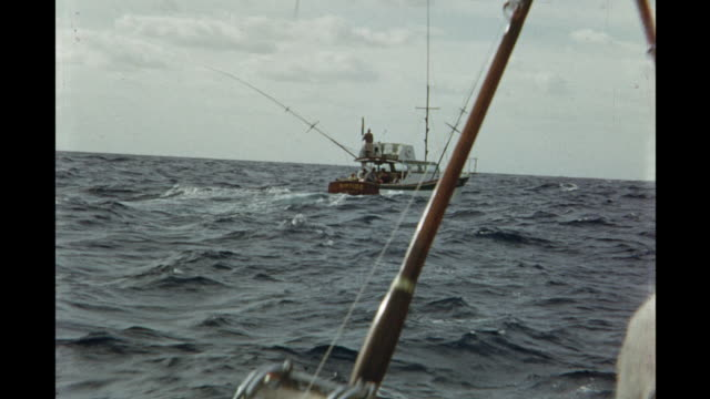 1954 montage fishing boats on rough ocean / miami, florida, usa - 1954 stock videos & royalty-free footage