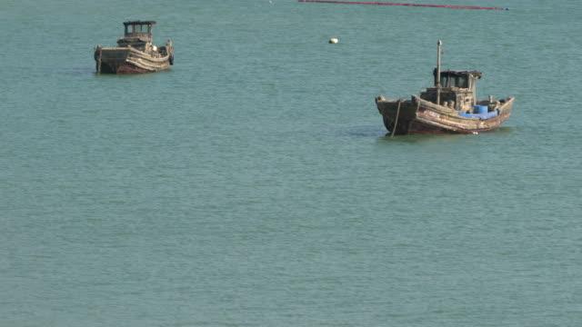 fishing boats on sea - förtöjd bildbanksvideor och videomaterial från bakom kulisserna