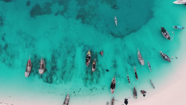 fishing boats on the beach of zanzibar, africa - bay of water stock videos & royalty-free footage