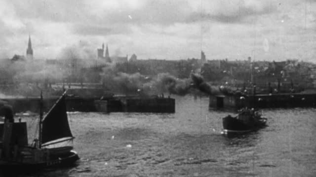 montage fishing boats on the north sea, kings college, and the university of aberdeen / aberdeen, scotland, united kingdom - 1948 stock-videos und b-roll-filmmaterial