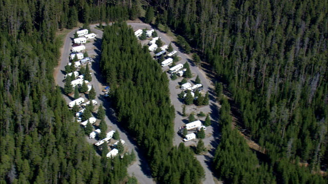 Fishing Bridge Rv Park  - Aerial View - Wyoming,  Park County,  helicopter filming,  aerial video,  cineflex,  establishing shot,  United States