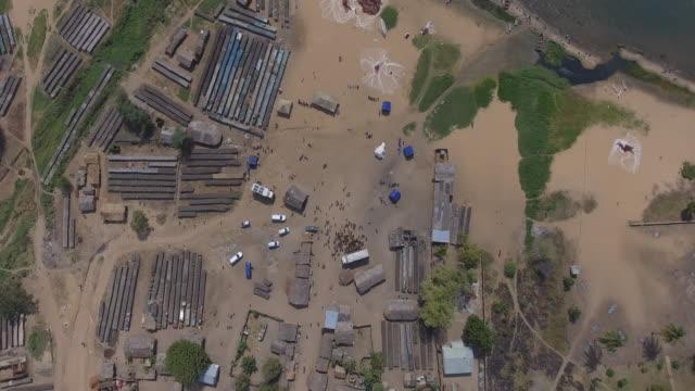fishing community on the edge of lake malawi - malawi stock videos & royalty-free footage
