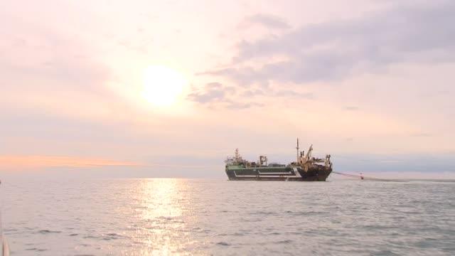 vídeos y material grabado en eventos de stock de concerns about fish stocks as 'supertrawler' operates in english channel; english channel: ext various shots of dutch-owned 'margiris' super-trawler... - canal de la mancha