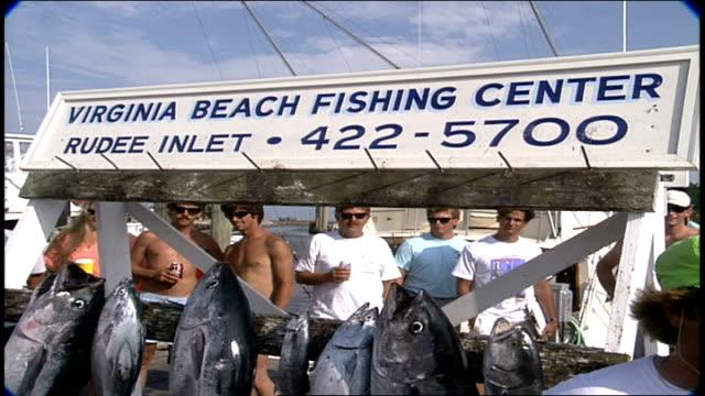fishing hanging off virginia beach fishing center sign in virginia - virginia beach stock videos & royalty-free footage