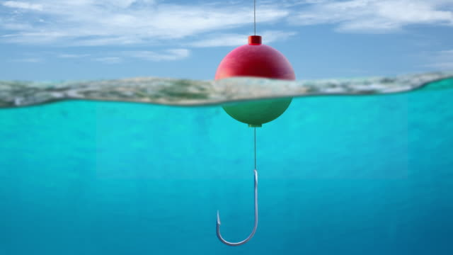 CU Fishing hook in ocean representing danger or opportunity / Melbourne, Victoria, Australia