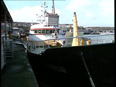 illegal nets; wales seq french trawler 'agena' unloading ) tx 13.4.95 milford fish ) itn haven - unloading stock videos & royalty-free footage
