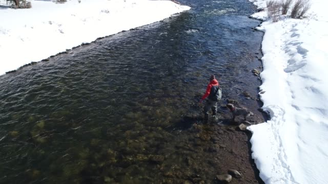 fishing on a scenic river in montana. - fliegenfischen stock-videos und b-roll-filmmaterial