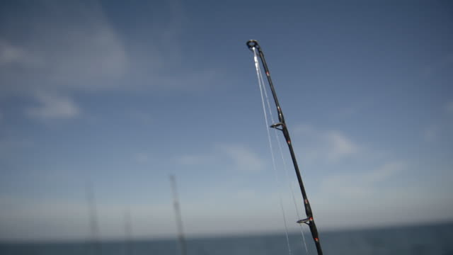 cu fishing poles on a boat - fishing rod stock videos & royalty-free footage