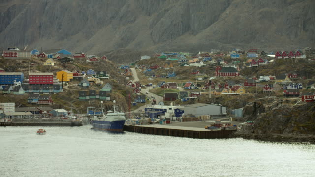 fishing port at sisimiut greenland - northwest passage stock videos and b-roll footage