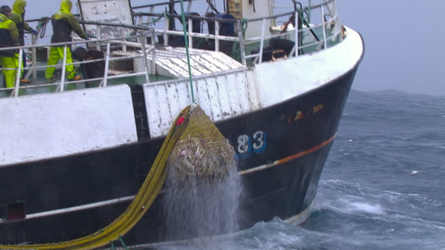 fishing trawler hauls in catch on ocean, scotland, uk - small boat stock videos & royalty-free footage