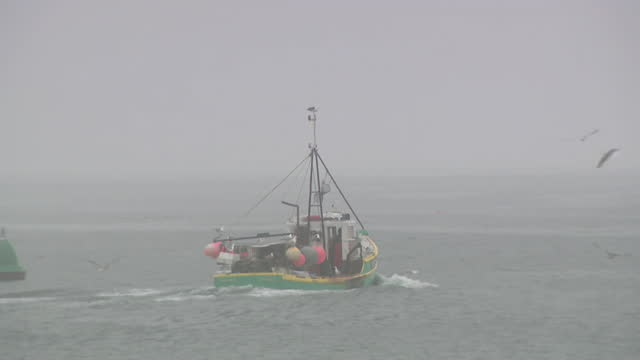 fishing trawler off the coast of orkney - grey colour stock videos & royalty-free footage