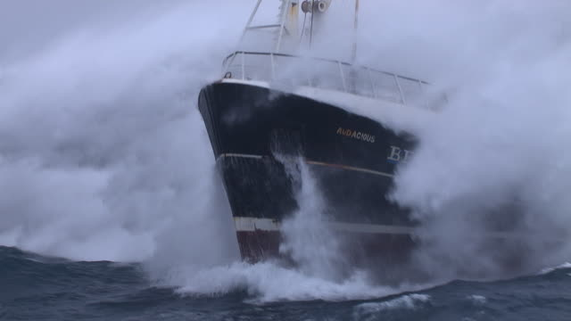 fishing trawler on rough atlantic ocean, scotland, uk - nautical vessel stock videos & royalty-free footage