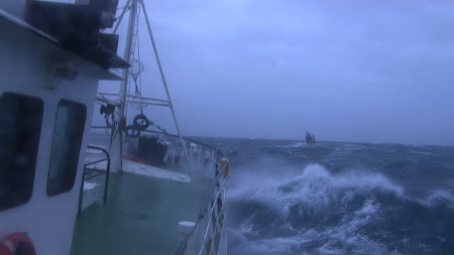 pov fishing trawler on rough ocean, scotland, uk - fishing stock videos & royalty-free footage