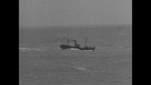 montage a fishing trawler sails upon the north sea / aberdeen, scotland, united kingdom - aberdeen schottland stock-videos und b-roll-filmmaterial