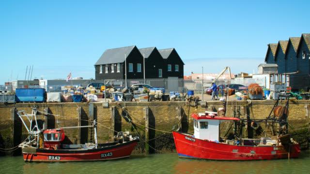 fishing trawlers in whitstable harbour, uk - kent england bildbanksvideor och videomaterial från bakom kulisserna