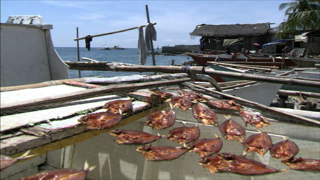 fishing village dried fish and the sea - fishing village stock videos and b-roll footage