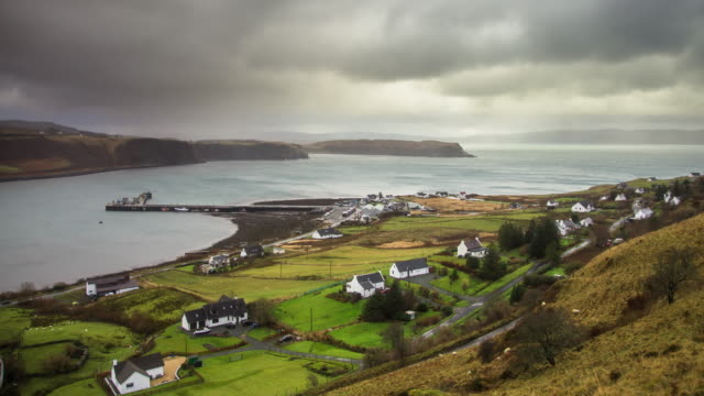 fishing village on isle of skye - time lapse - coastline stock videos & royalty-free footage