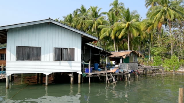 fishing village on stilts in the sea - stilts stock videos and b-roll footage