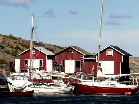 Fishing-huts Smogen Bohuslan Sweden.